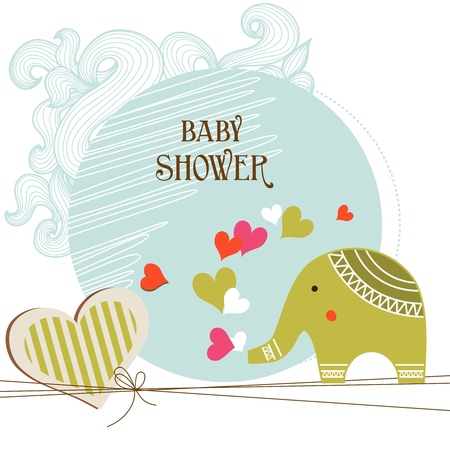 baby elephant: Baby shower card template