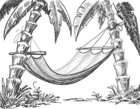 Hangmat en palmbomen tekenen Vector Illustratie