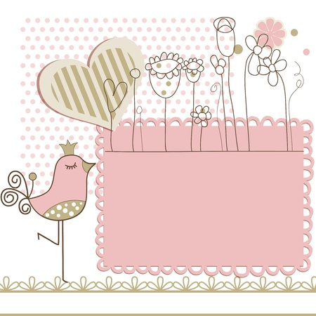 baby illustration: Baby arrival card