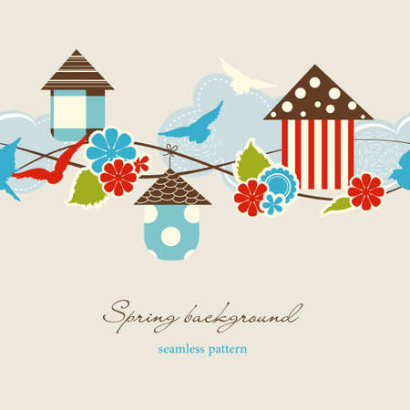 Spring background (seamless pattern) Vector