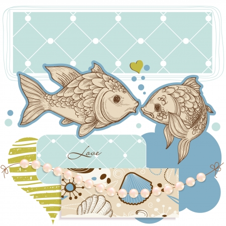 Sea background, fish and pearls Vector
