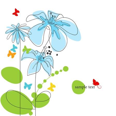 mosca caricatura: Fondo floral con mariposas