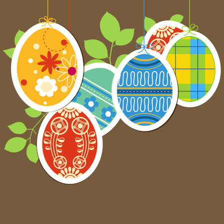 Easter painted eggs background Vector
