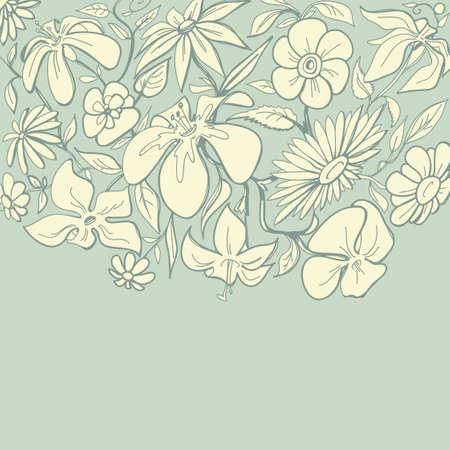 dibujos lineales: La frontera floral vintage
