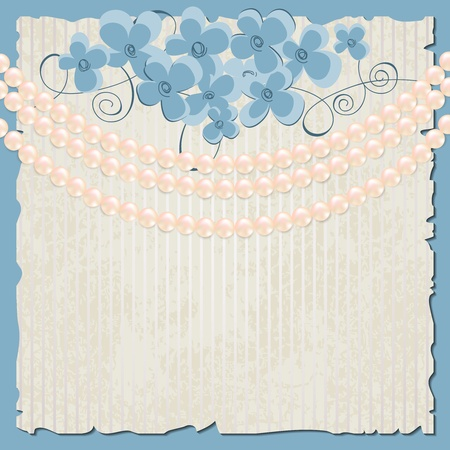 Elegant vintage background, flowers and pearls Stock Vector - 12498029