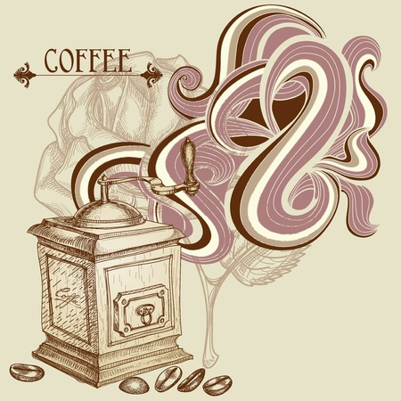 Coffee background, vintage coffee mill Vector