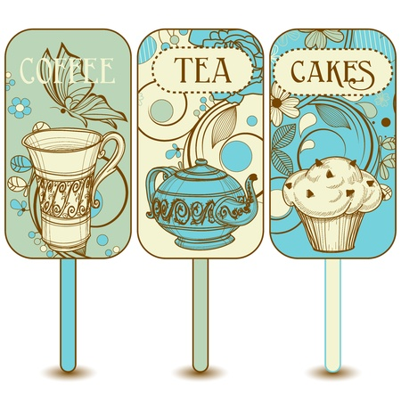 brown cup tea: Coffee, tea, cupcakes labels