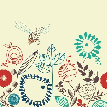cute bee: Bees floral garden
