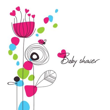 invitacion baby shower: Ducha de bebé feliz floral Vectores