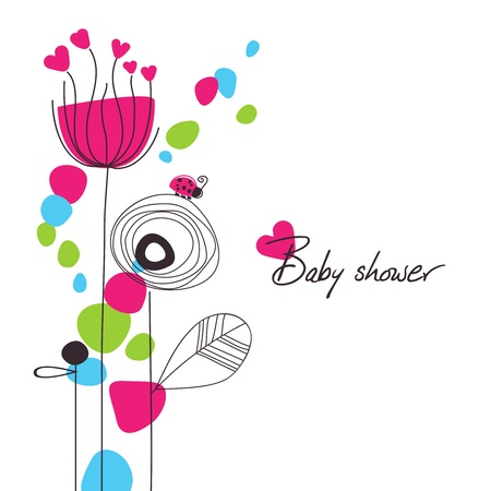 the album announcement: Happy floral baby shower