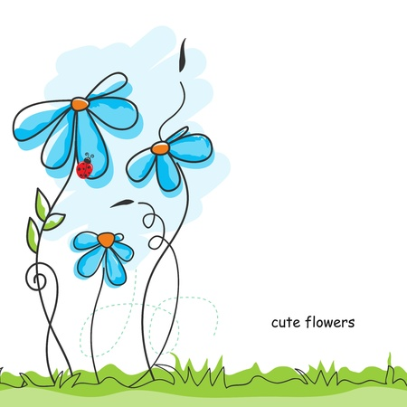 Cute flowers and ladybug Vector