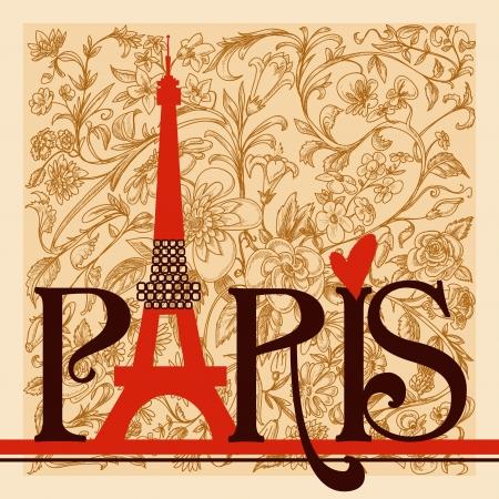 paris vintage: París, las letras sobre fondo floral del vintage