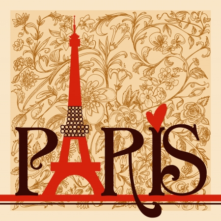 Paris belettering op vintage bloemenachtergrond