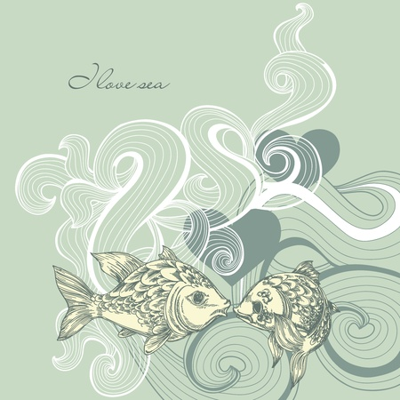 marine fish: Sea background Illustration