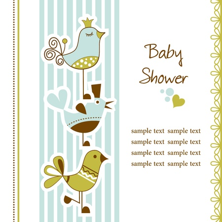 the album announcement: Birds baby shower Illustration