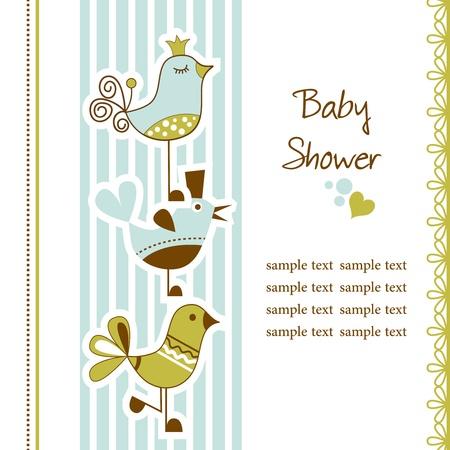 funny baby: Birds baby shower Illustration