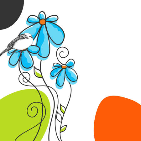 naive: Vector flowers and cute bird