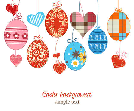 Easter background, hanging colorful eggs over white Vector