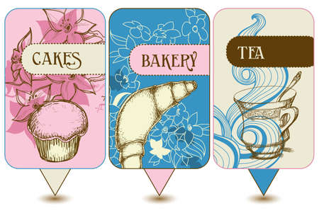 Bakery, tea and cakes labels Vector