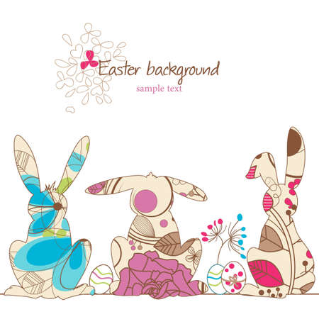 silhouette lapin: Pâques fond, ligne décorative de lapins