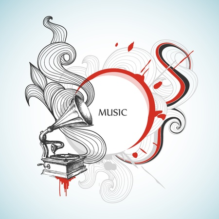 phonograph: Vintage music background Illustration