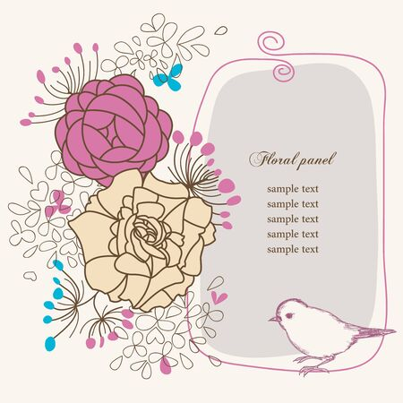 Floral panel and bird Vector