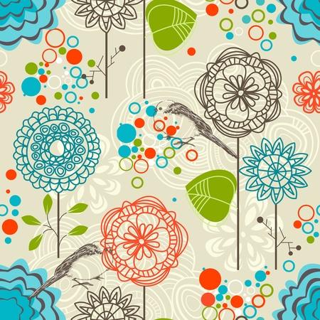 식물상: 레트로 정원 원활한 패턴, 꽃과 새 일러스트