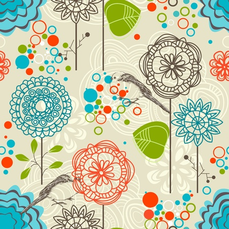 Retro garden seamless pattern, flowers and birds Illustration