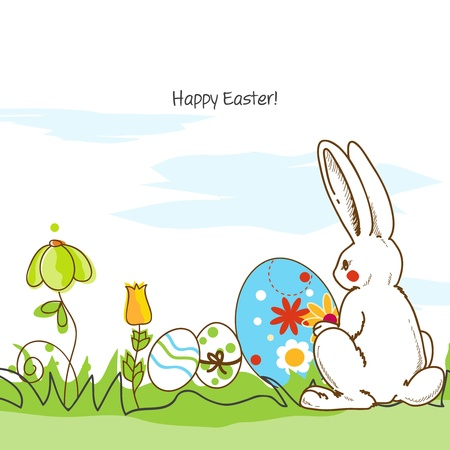 Easter scene, white rabbit and painted eggs Vector