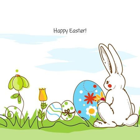 pasqua cristiana: Pasqua scena, coniglio bianco e uova dipinte Vettoriali
