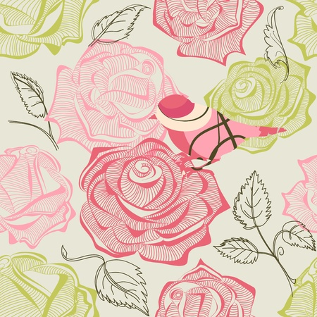 fabric swatch: Retro floral and bird seamless pattern