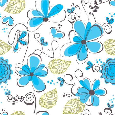 blue clip: Floral seamless pattern
