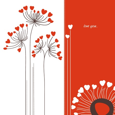 Vector flowers love card Vector