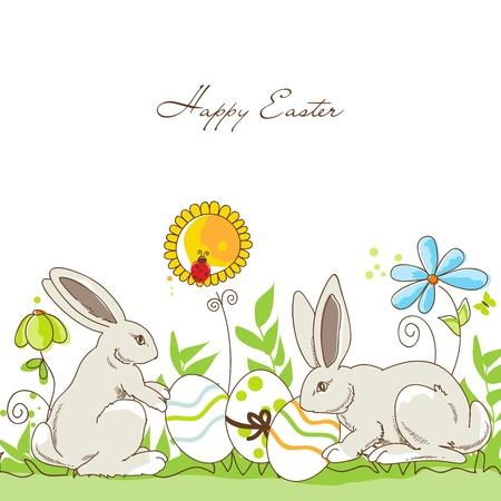 pasqua cristiana: Happy conigli di Pasqua e le uova su un prato