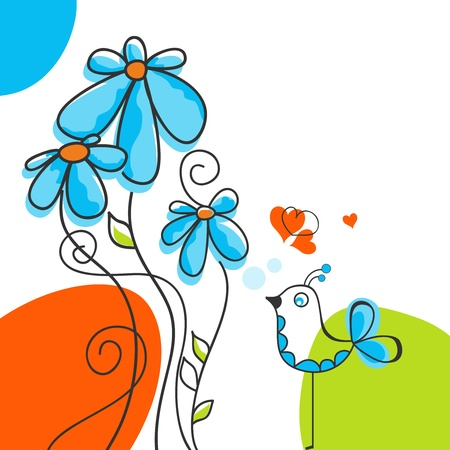 ni�o cantando: Aves y flores historia de amor Vectores