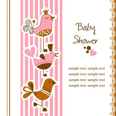 Funny birds baby shower Stock Vector - 12955440