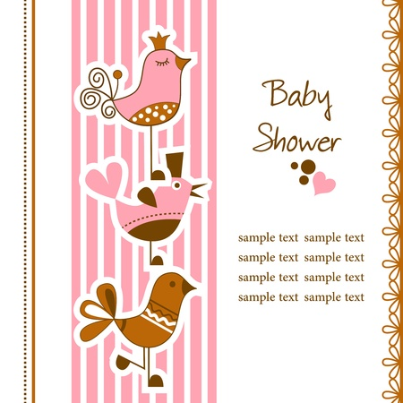 whimsy: Funny birds baby shower Illustration