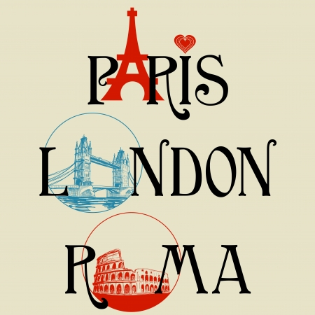 Paris, London, Roma lettering Vector