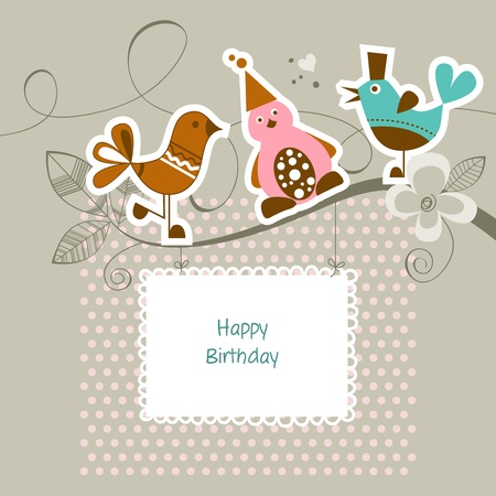 Funny friends on a tree branch; happy birthday card Illustration
