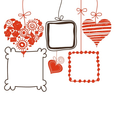 Hearts and doodle frames for text or photo Vector