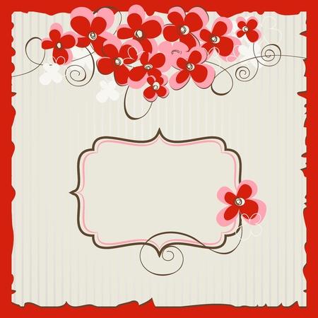 paper plates: Retro floral background Illustration