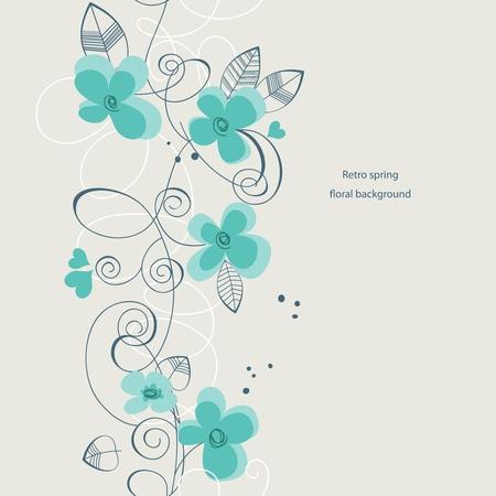 アクアマリン: レトロな春の花の背景 (シームレスなパターン)