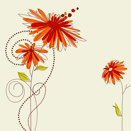 flores: Cute floral greeting card