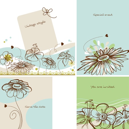 Invitation set in vintage floral style Vector