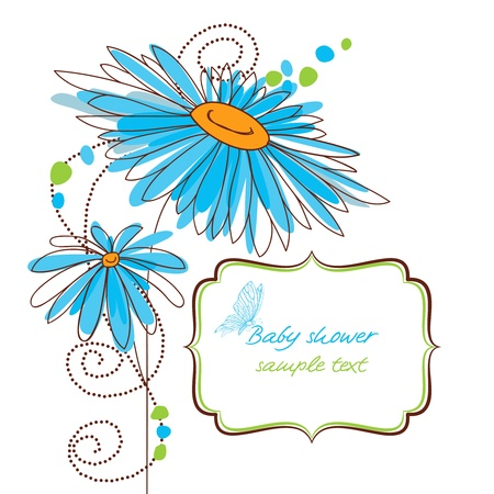 green day baby blue background: Happy floral baby shower