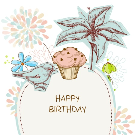 happy people: Happy birthday card, cupcake, bird and flowers Illustration