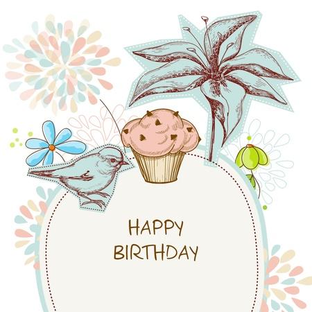 birthday flowers: Happy birthday card, cupcake, vogel en bloemen