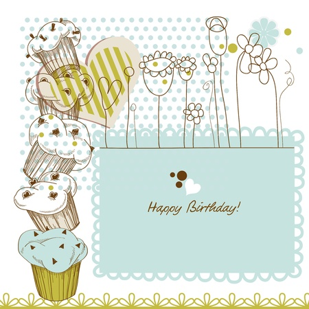 kitchen shower: Birthday greeting card with cupcakes Illustration
