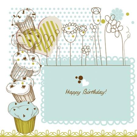 encantador: Cartão do aniversário com queques