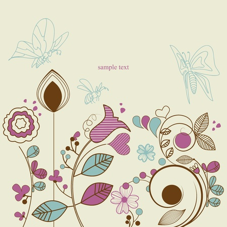 Floral garden with butterflies Vector
